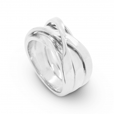 Polished 18ct White Gold Multi-strand Cross Over Style Dress Ring