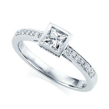 Princess Cut With Diamond Shoulders Engagement Ring
