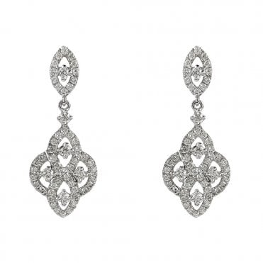 Vintage Collection 18ct White Gold Diamond Drop Earrings