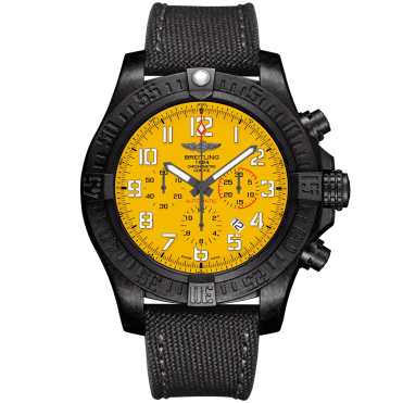 Breitling Avenger Hurricane 50mm Cobra Yellow Dial Military Strap Watch