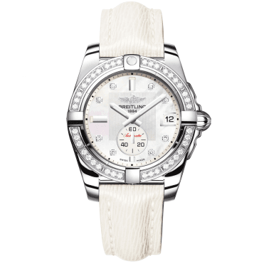 Galactic 36 Automatic Diamond Dial & White Sahara Strap Watch
