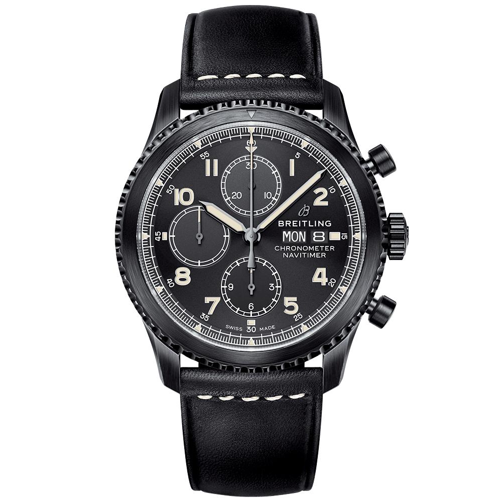 breitling navitimer 8 43mm black steel day date chronograph watch. Black Bedroom Furniture Sets. Home Design Ideas