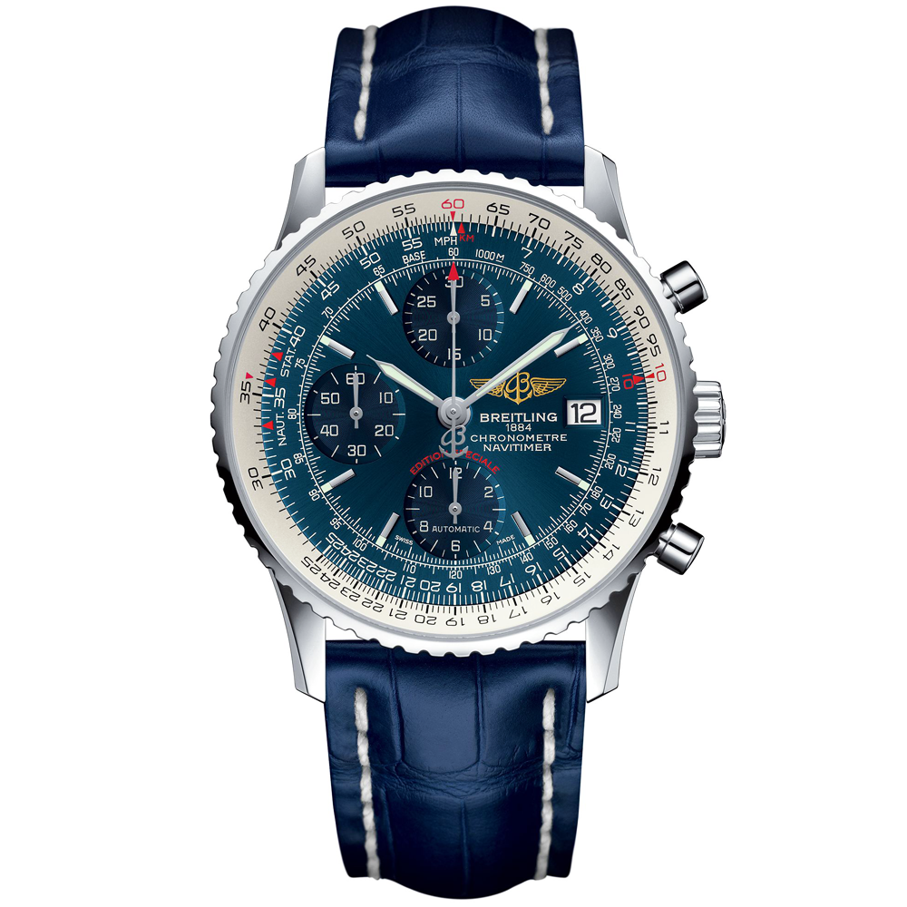 Breitling Bentley Leather Band: Breitling Navitimer Heritage 42mm Aurora Blue Dial & Strap