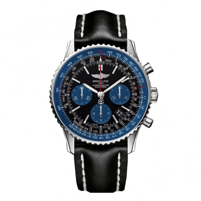 Breitling Bentley Leather Band: Breitling Navitimer Limited Edition Steel Black/Blue Dial