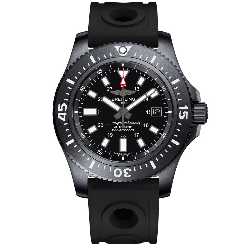 51d1525bb6c Superocean 44 Special Blacksteel Black Ceramic Bezel Automatic Men  039 s  Rubber Strap Watch