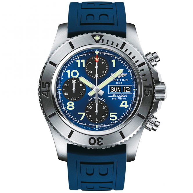 Breitling Superocean 44mm Steelfish Blue Dial Men's Rubber