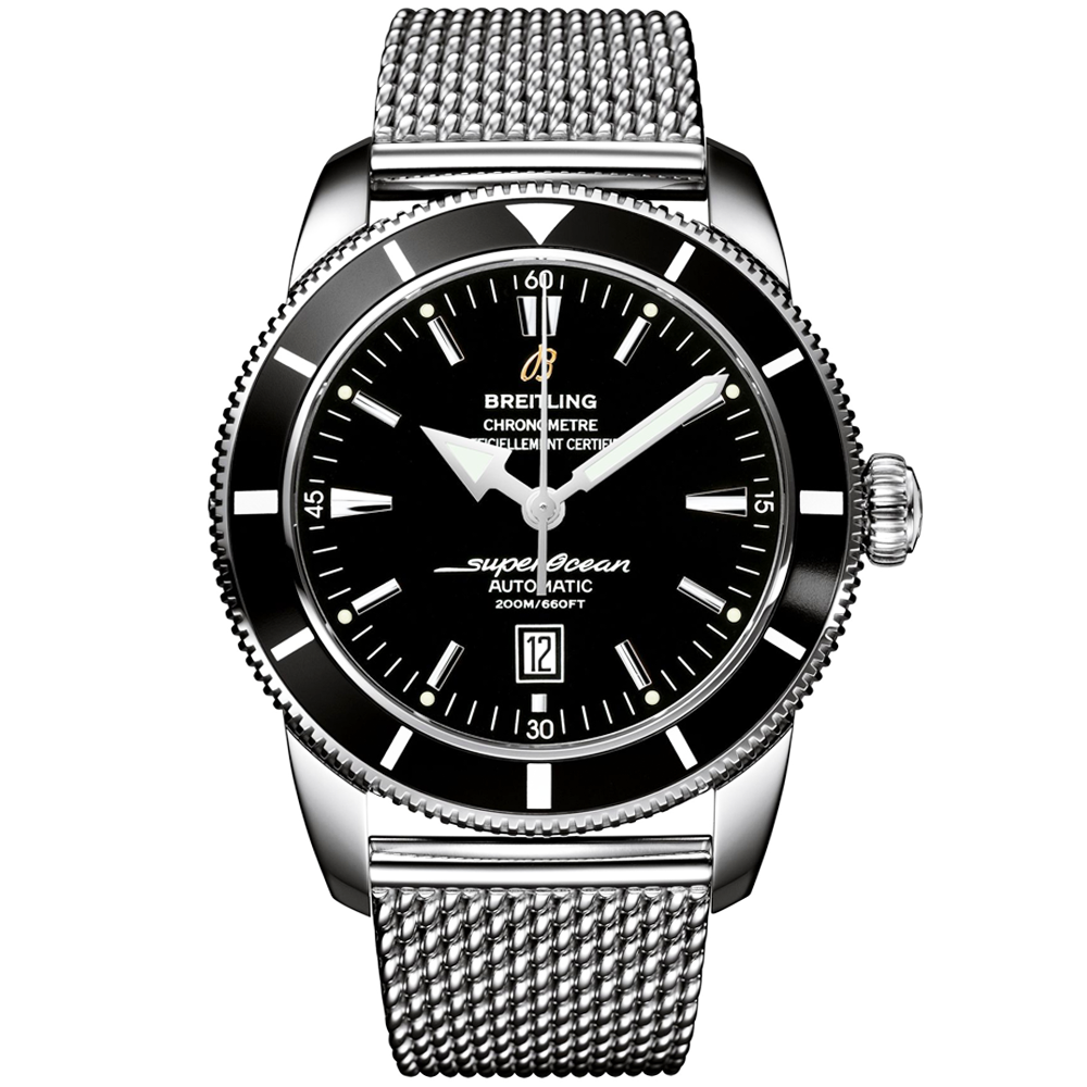 Breitling superocean heritage 46 black dial bezel men 39 s watch for Men decagonal bezel bracelet