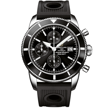 Superocean Heritage Chronograph 46 Black Dial & Rubber Strap Watch