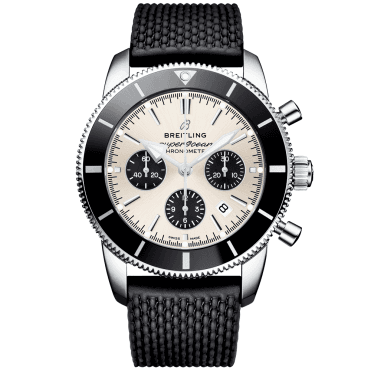 Superocean Heritage II 44mm Silver/Black Dial Chronograph Watch