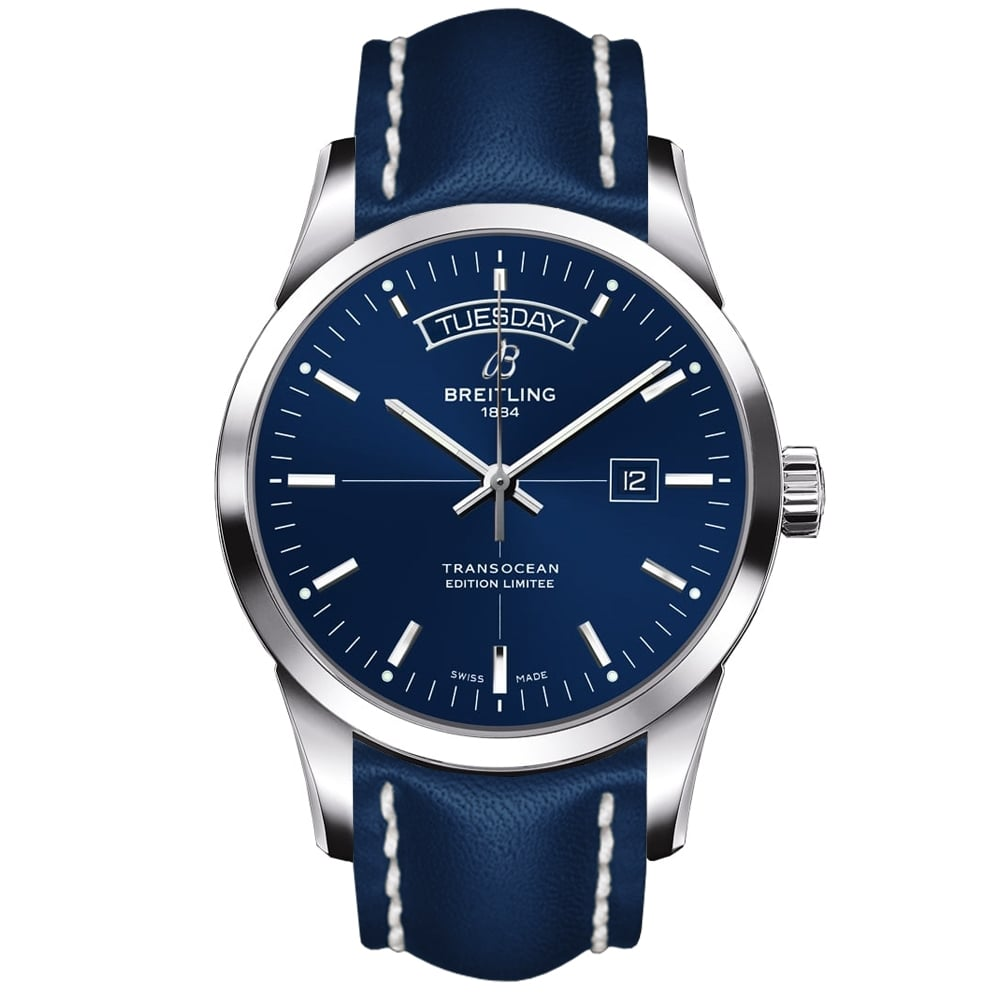breitling transocean day date limited edition blue dial. Black Bedroom Furniture Sets. Home Design Ideas