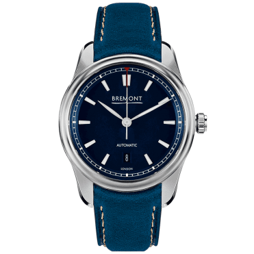 AIRCO MACH3 40mm Blue Index Dial & Leather Strap Watch