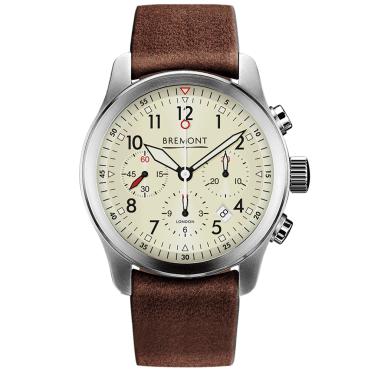 ALT1-P2 43mm Cream Dial Men's Leather Strap Chronograph Watch