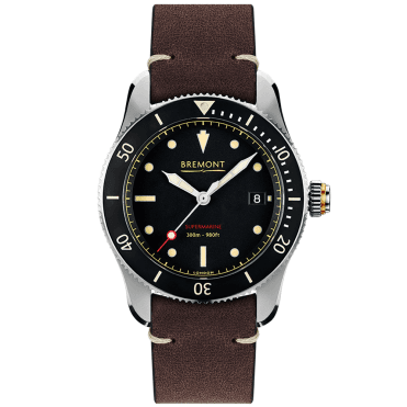 Supermarine S301 40mm Black/Tan Dial Leather Strap Men's Watch