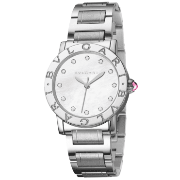 Bulgari 33mm Steel White Mother of Pearl Diamond Dial Watch