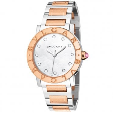 Bulgari 33mm White Mother of Pearl Diamond Dial Ladies Watch