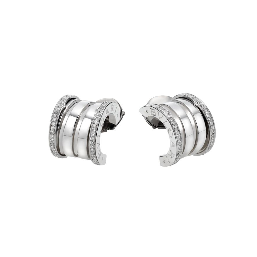 Bzero1 18ct White Gold Diamond Hoop Earrings