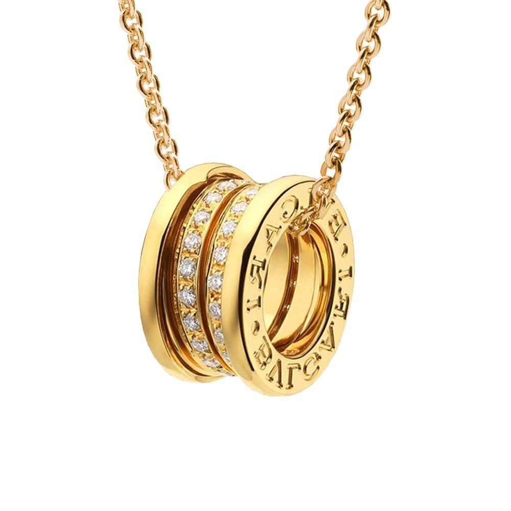 bzero1 18ct yellow gold diamond set pendant