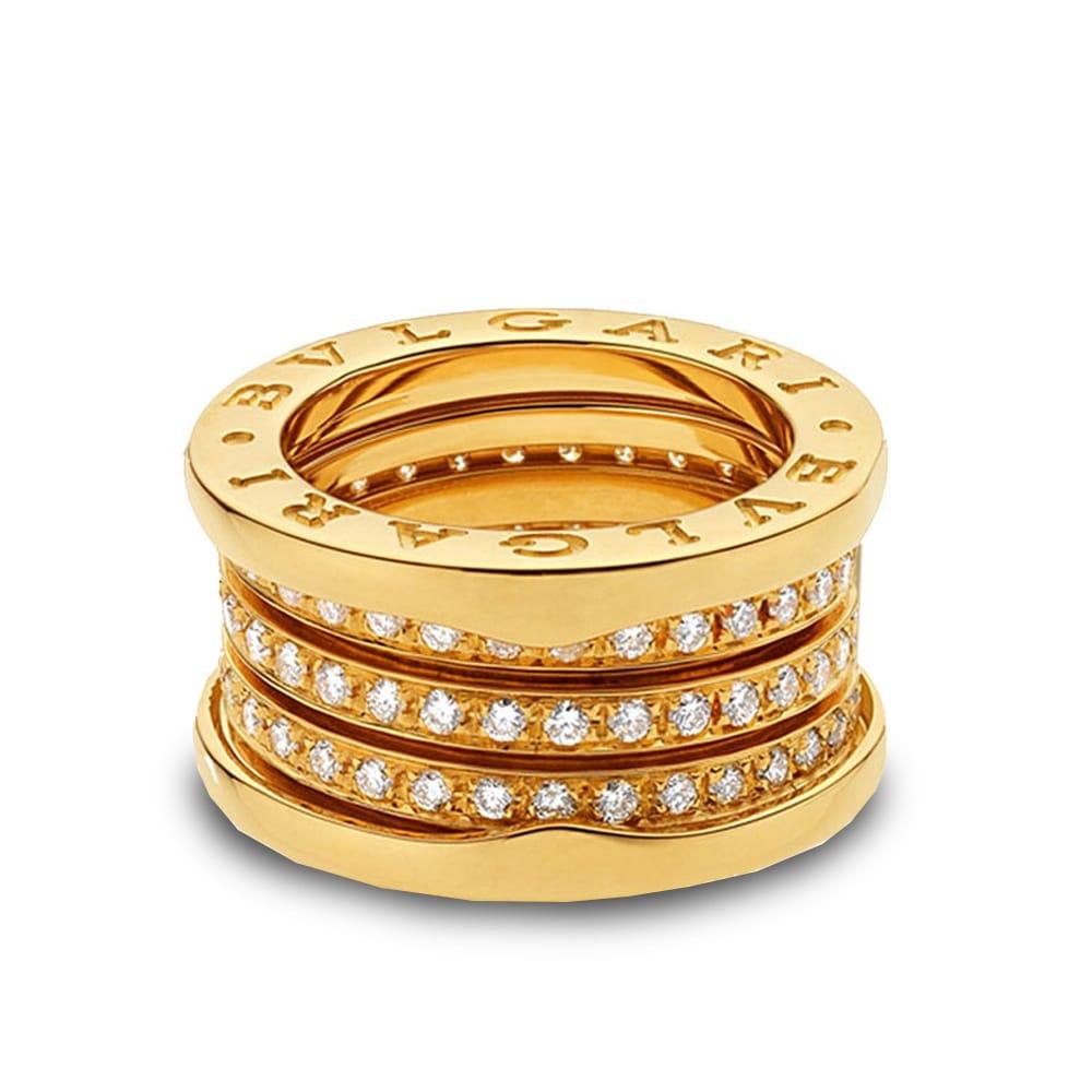 bzero1 18ct yellow gold four band pave set diamond ring