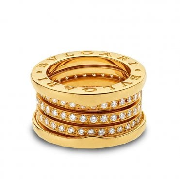 bzero1 18ct yellow gold four band pave set diamond ring
