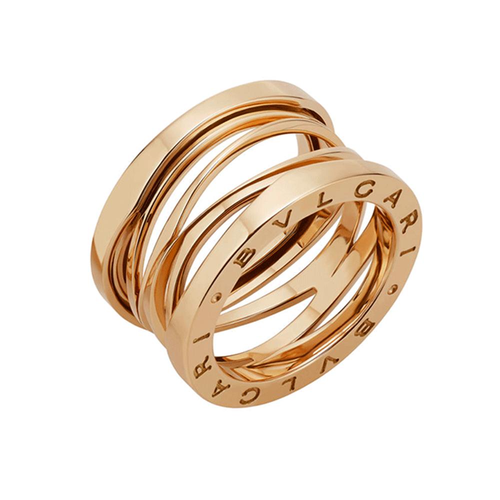 bzero1 zaha hadid 18ct pink gold four band ring bulgari