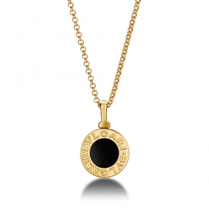 Bulgari 18ct Yellow Gold Black Onyx Disc Necklace Cl857216