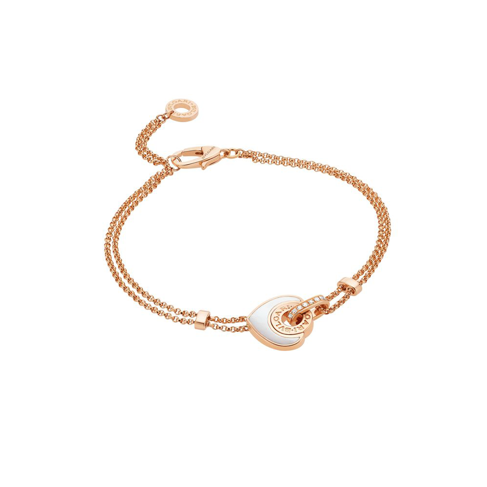 Bulgari Cuore Pink Gold Bracelet With Mother of Pearl Heart