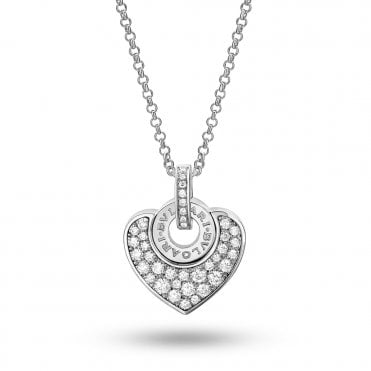 Cuore 18ct White Gold Pave Diamond Necklace