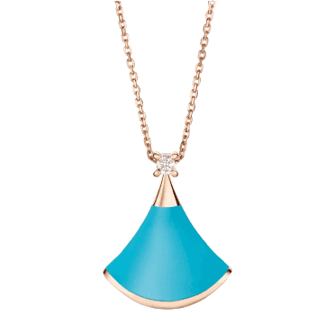 Bulgari Divina Diva's Dream 18ct Pink Gold Turquoise & Diamond Pendant