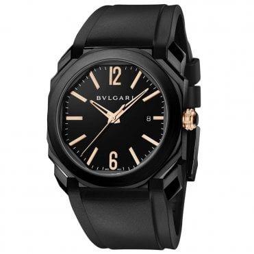 Bulgari Octo Solotempo 41mm Black DLC Rubber Strap Men's Watch