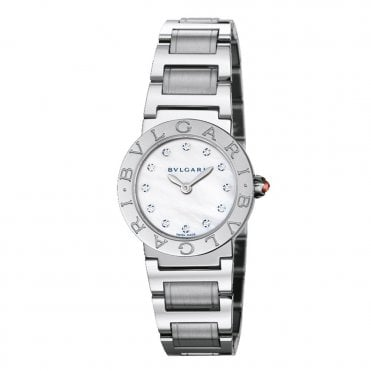 Bulgari Steel 26mm Mother of Pearl Diamond Dial Ladies Bracelet Watch