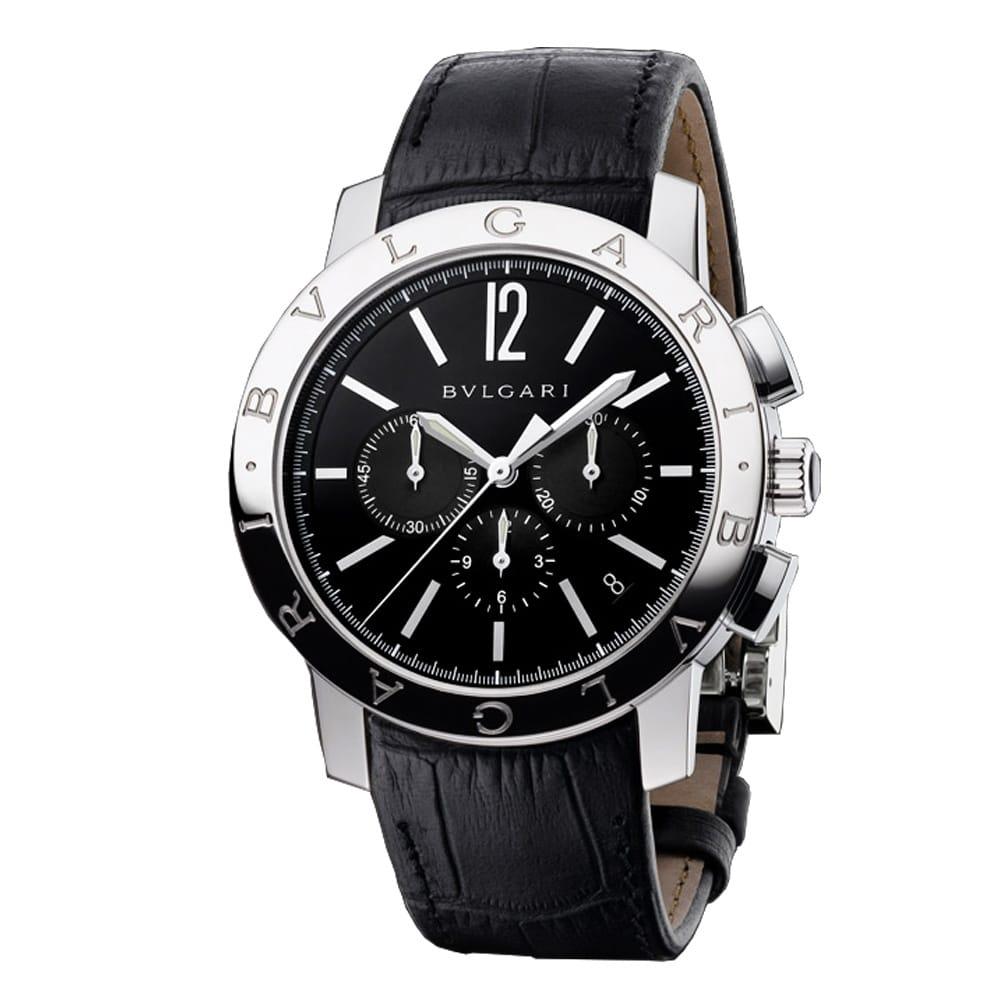 bulgari bulgari steel chronograph black s leather