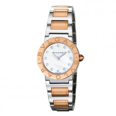 Bulgari Steel and Gold 26mm Mother of Pearl Diamond Dial Ladies Bracelet Watch