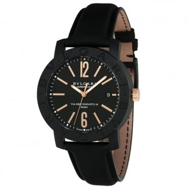 Bvlgari 40mm Carbon Gold & Black Leather Strap Men's Watch
