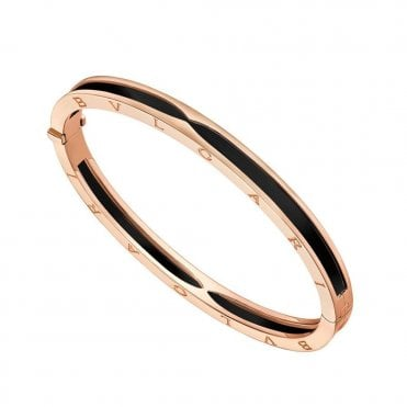 B.Zero1 18ct Pink Gold & Black Ceramic Bangle