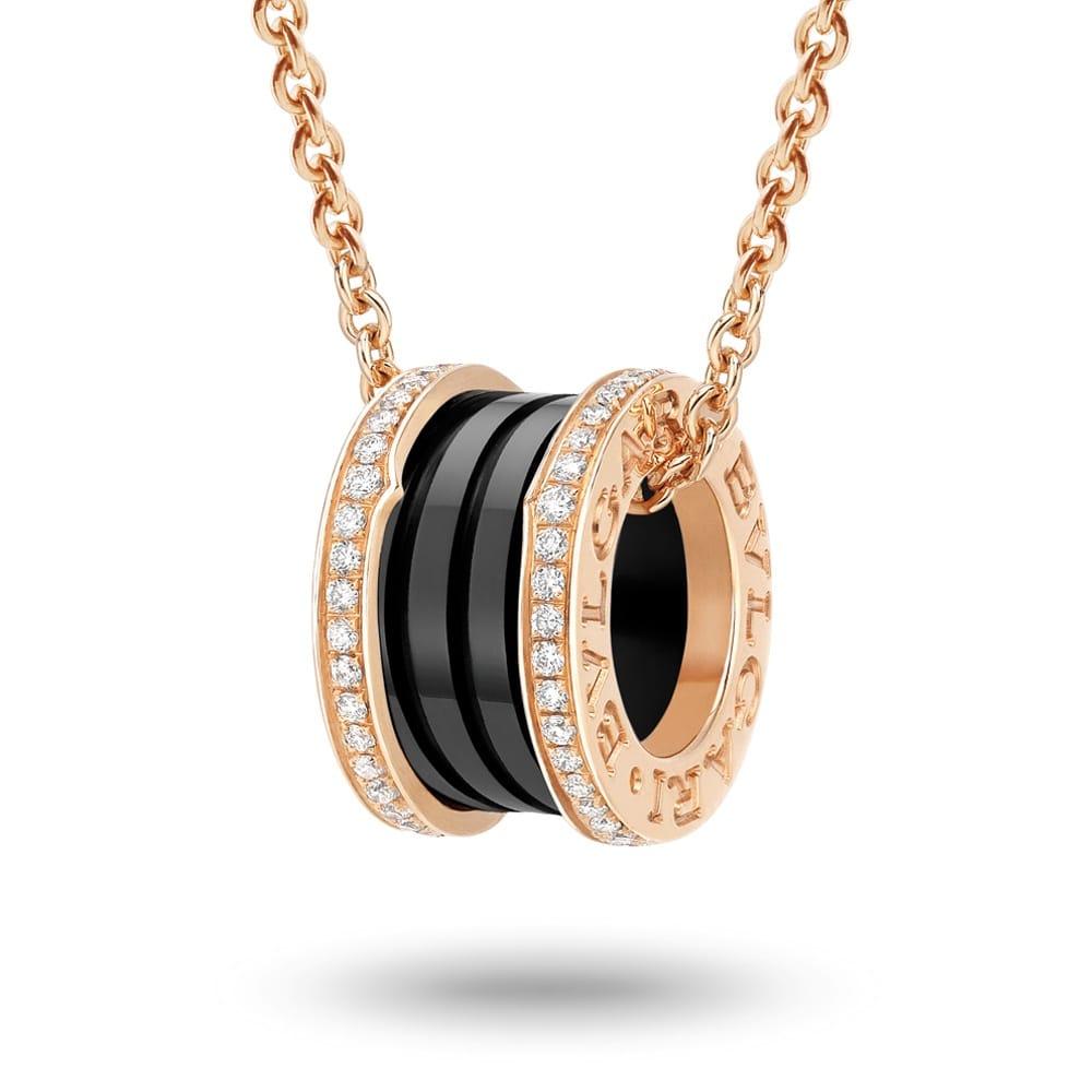 Bvlgari bzero1 18ct pink gold black ceramic diamond set pendant bzero1 18ct pink gold amp black ceramic diamond set pendant aloadofball Images