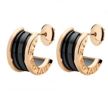 B.Zero1 18ct Pink Gold & Black Ceramic Earrings