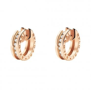 B.Zero1 18ct Pink Gold Diamond Set Hoop Earrings