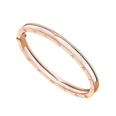 B.Zero1 18ct Pink Gold & White Ceramic Bangle
