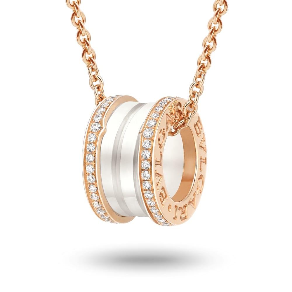 Bvlgari bzero1 18ct pink gold white ceramic diamond set pendant bzero1 18ct pink gold amp white ceramic diamond set pendant aloadofball Images