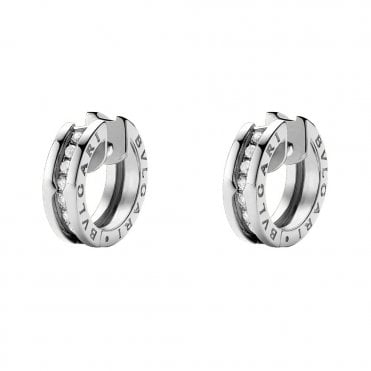 B.Zero1 18ct White Gold Diamond Set Hoop Earrings