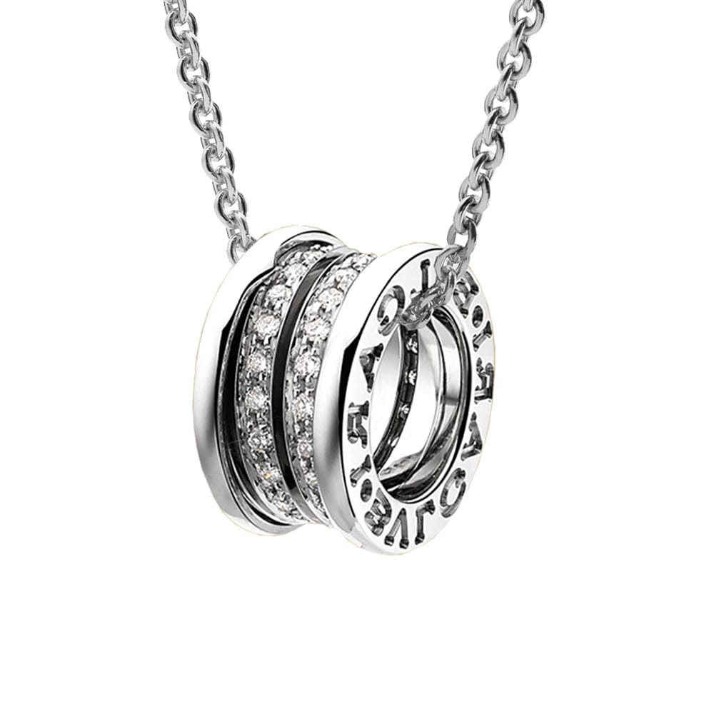 Bvlgari bzero1 white gold diamond set pendant bzero1 18ct white gold diamond set pendant aloadofball Images