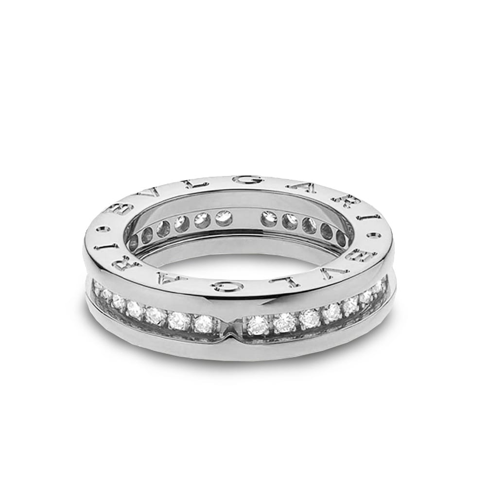 Bvlgari B Zero1 18ct White Gold One Band Pave Set Diamond Ring