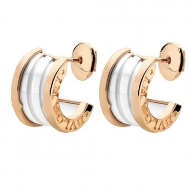 B.Zero1 Pink Gold & White Ceramic Earrings