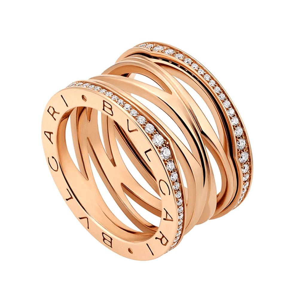 b47c739a58371 Bvlgari Bvlgari B.Zero1 Zaha Hadid 18ct Pink Gold Diamond Set Four Band Ring