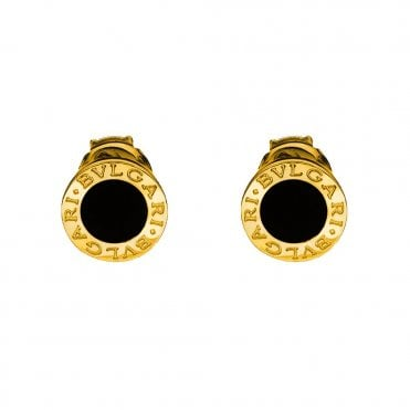 Bvlgari Bvlgari 18ct Yellow Gold & Black Onyx Stud Earrings