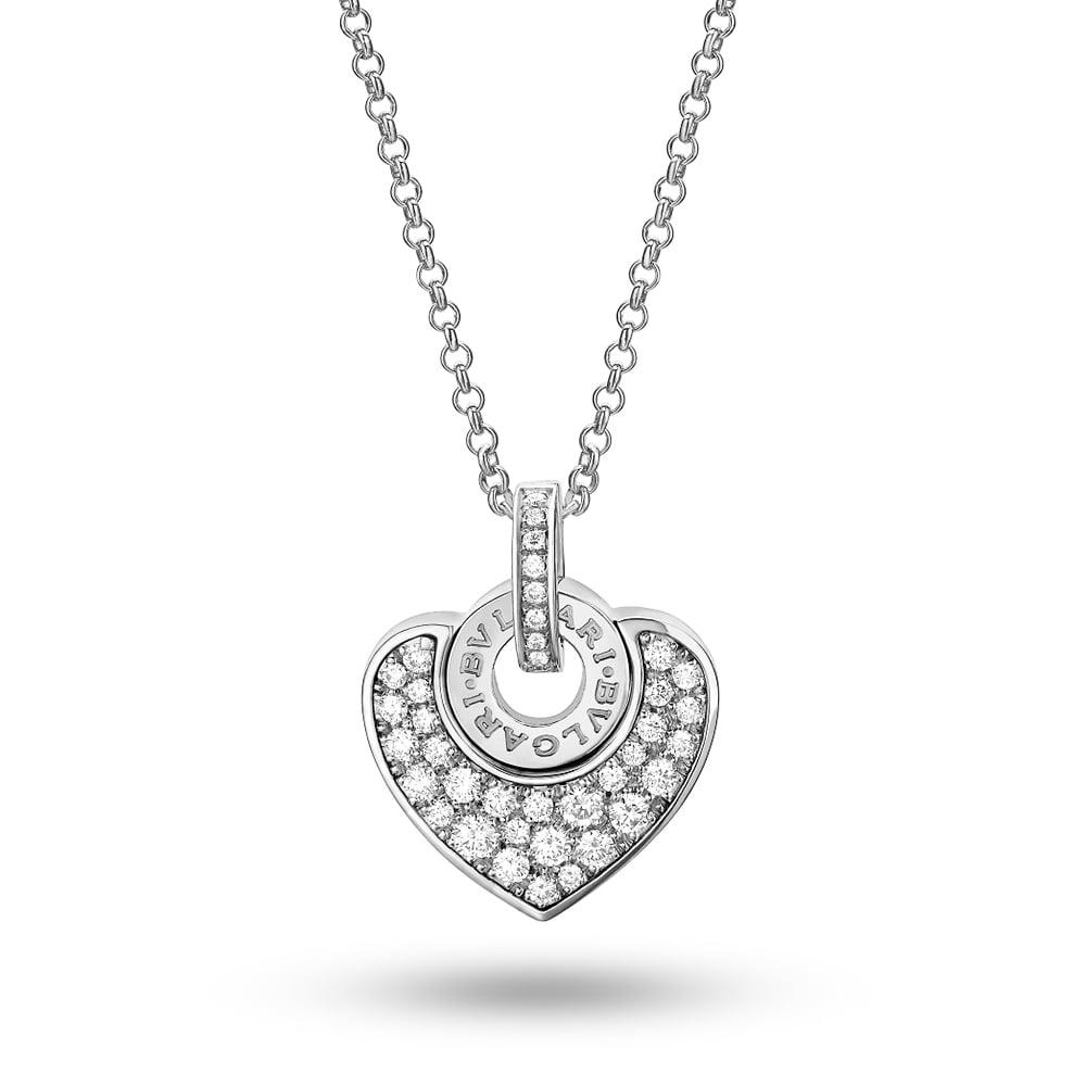 Bvlgari bvlgari cuore 18ct white gold pave diamond pendant cl857567 bvlgari bvlgari cuore 18ct white gold pave diamond heart pendant aloadofball Images