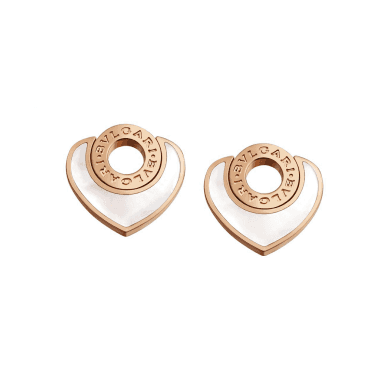 Bvlgari Bvlgari Cuore Pink Gold Stud Earrings With Mother of Pearl