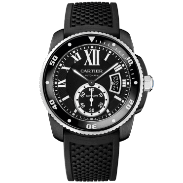 Calibre de Cartier Black Carbon & Rubber Strap Diver Watch