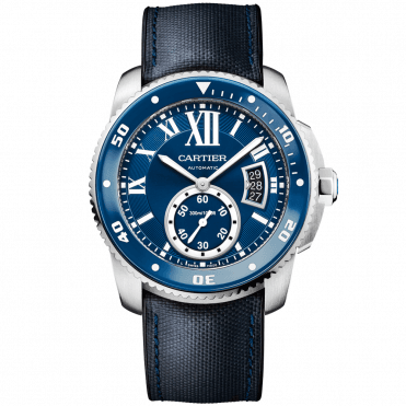 Calibre De Cartier Diver Steel Blue Dial and Bezel Automatic Men's Strap Watch