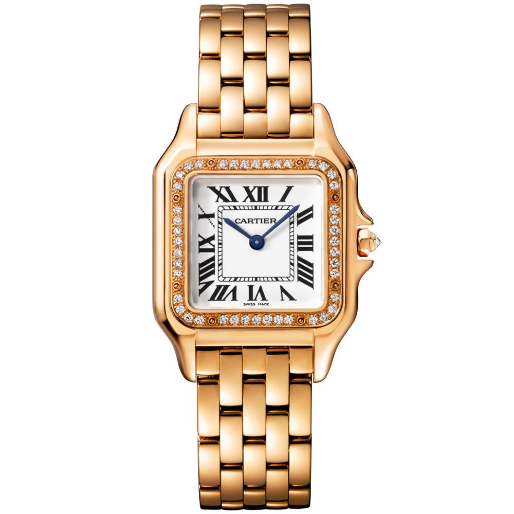 Cartier Panthere Medium 18ct Pink Gold & Diamond Set Bezel ...